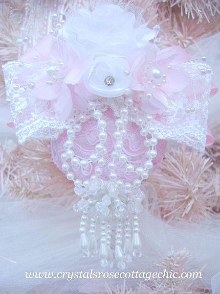 Romantic White Pearl Tassel  Ornament