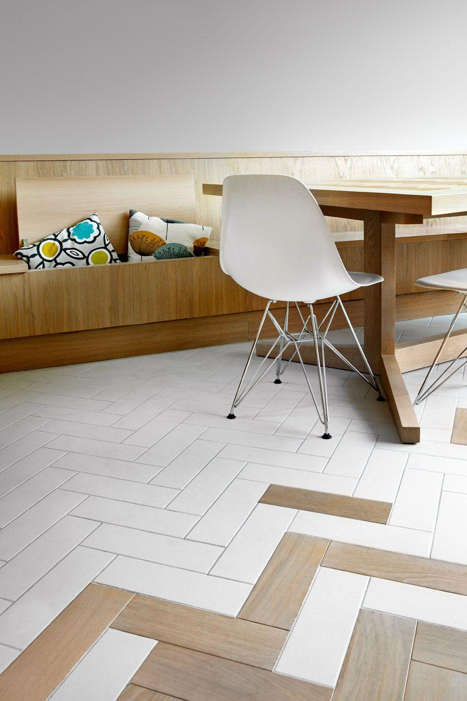 Herringbone Patterns Feature Inside Angular House Extension In Hackney London Transition Flooring Oak Parquet Flooring Floor Design