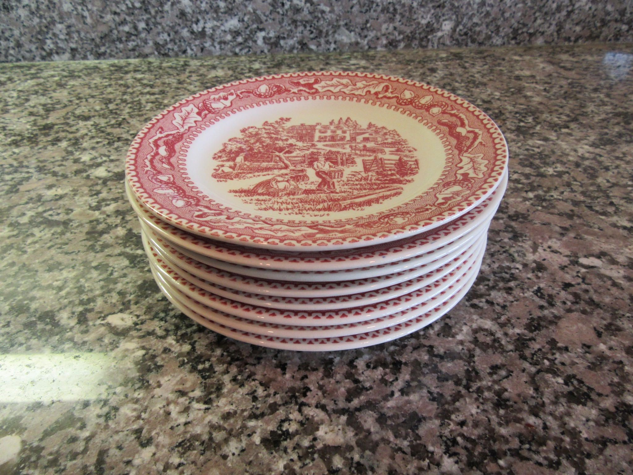 Seven bread and butter plates- Vintage Memory Lane Royal China- red on white design by HeathersCollectibles on Etsy