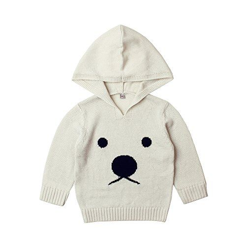 a56089e4d mimixiong Baby Girl Knit Sweaters Bear Pattern Hooded Outfit Long ...