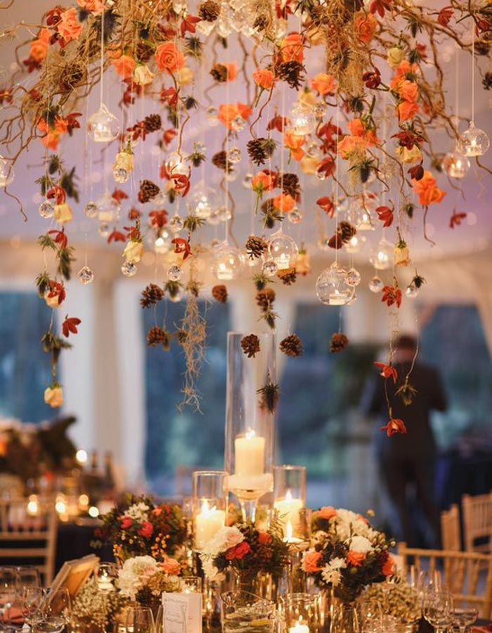 10 Gorgeous Hanging Floral Arrangements That Will Wow Your Guests Diy Fall Wedding Decorations Fall Wedding Diy Wedding Table