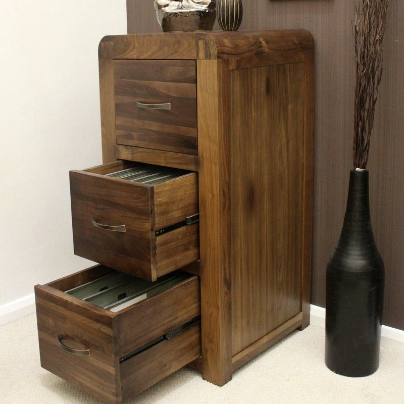 Shiro Solid Walnut 3 Drawer Filing Cabinet
