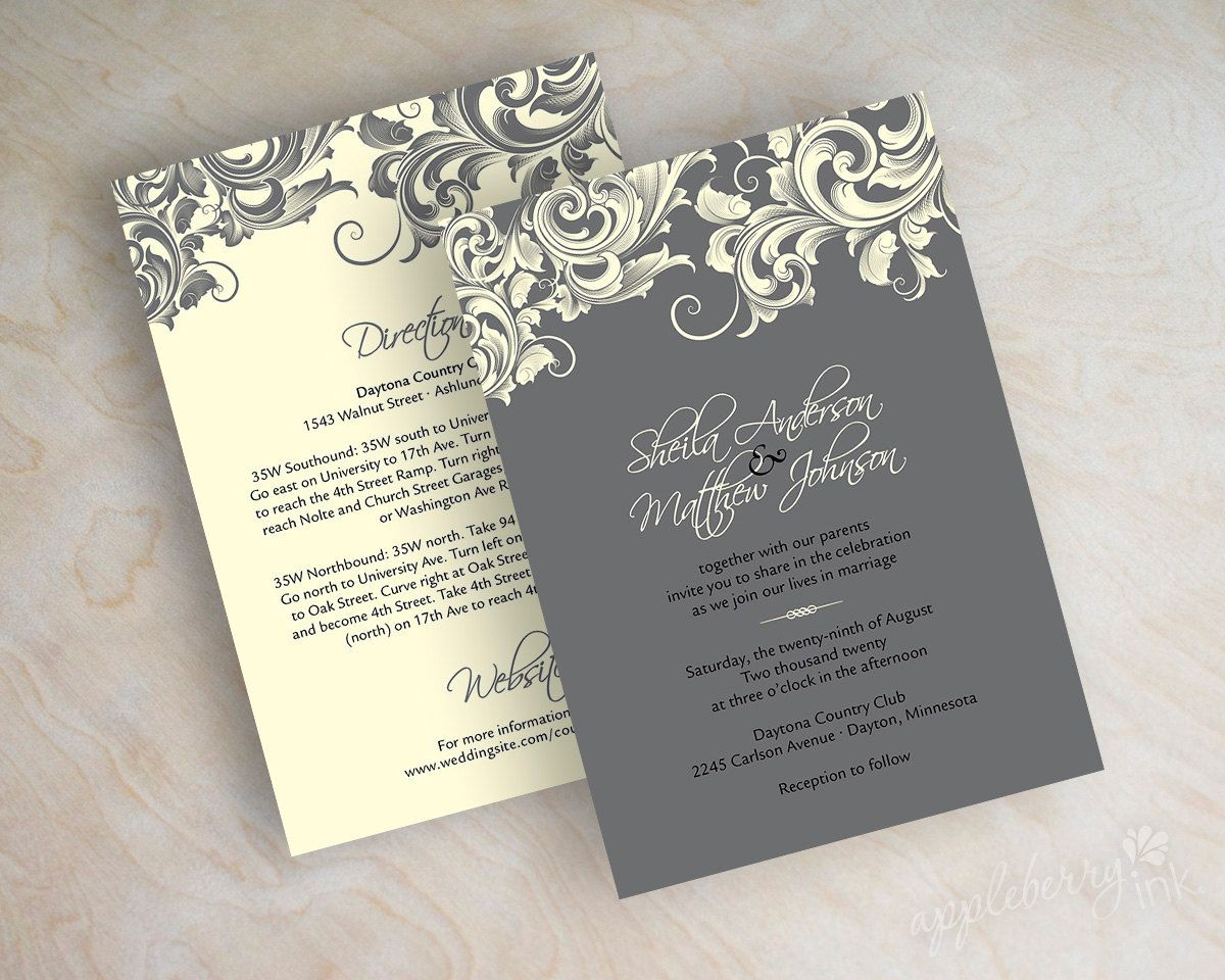 Wedding invitations victorian filigree pattern by appleberryink