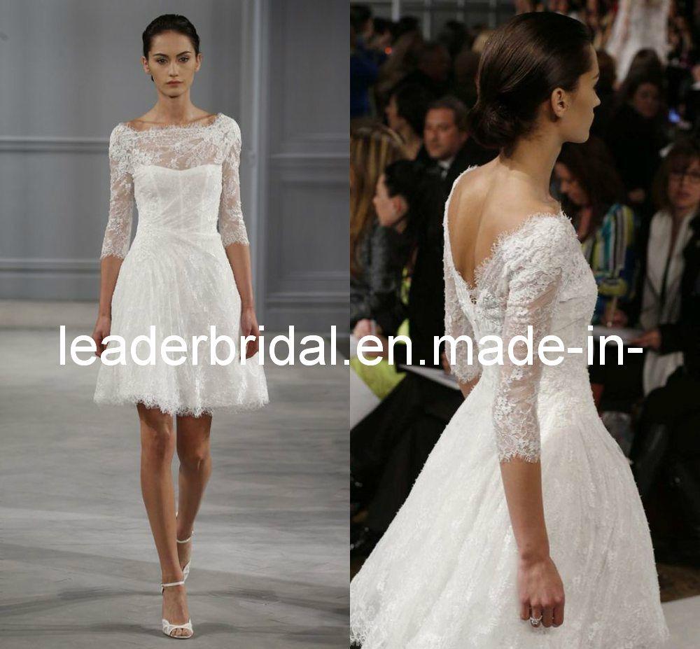 China 2014 New Wedding Dress 3/4 Sleeves Boat Neck Lace Short Knee ...
