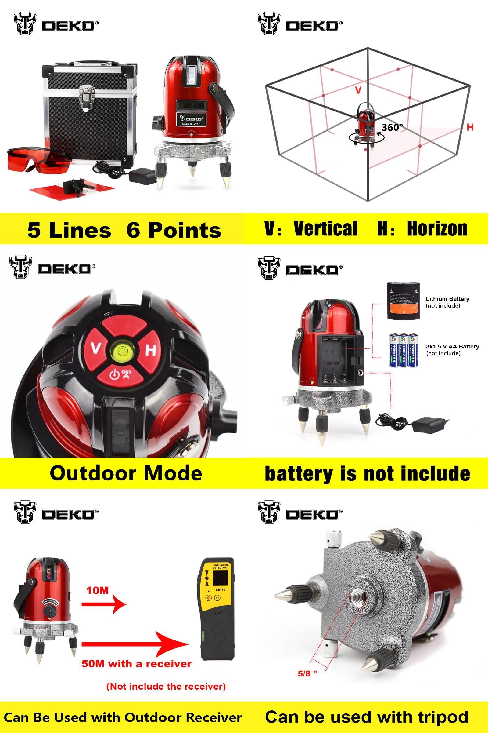 Visit To Buy Dekopro 5 Lines 6 Points Laser Level 360 Vertical Horizontal Rotary Cross Laser Line Leveling Can Be Used W Laser Levels Vertical Line Level