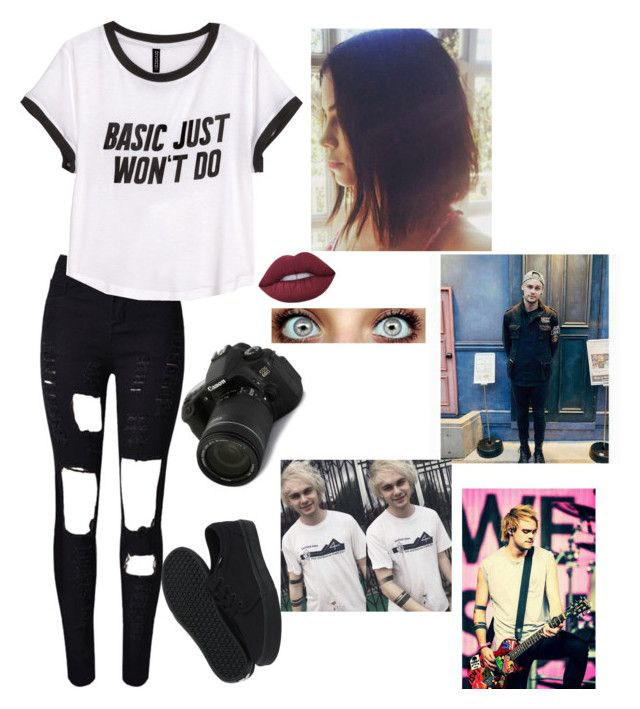 """Photographing Michael Clifford"" by bringmxthxhorizon ❤ liked on Polyvore featuring Eos, WithChic, H&M, Vans and Lime Crime"