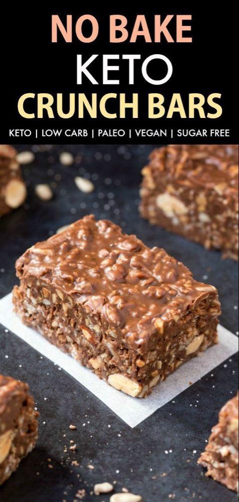 Barras crujientes de chocolate Keto sin hornear caseras (paleo, vegano, sin azúcar, bajas en carbohidratos) ...