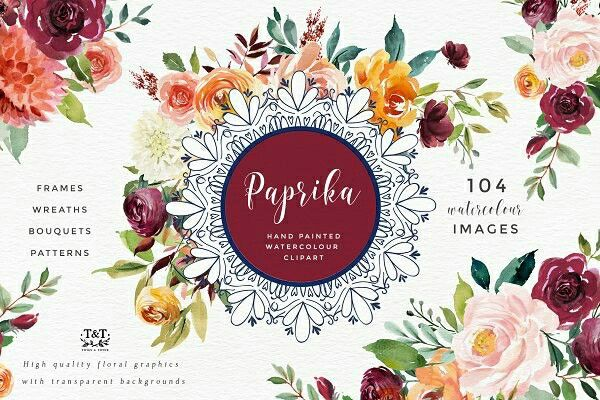 Watercolor Flower Clipart - Paprika. This set of floral elements and design assets is created in a gorgeous palette of burgundy, gold, coral, blush and leafy greens. It works beautifully with gold foil accents.