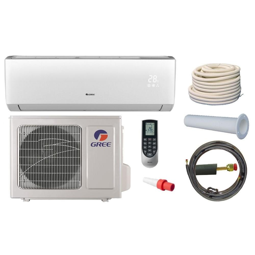Gree Vireo 12200 Btu Ductless Mini Split Air Conditioner And Heat Pump Kit 115volt Vir12hp115v1ak The Home Depot Ductless Mini Split Heat Pump Ductless