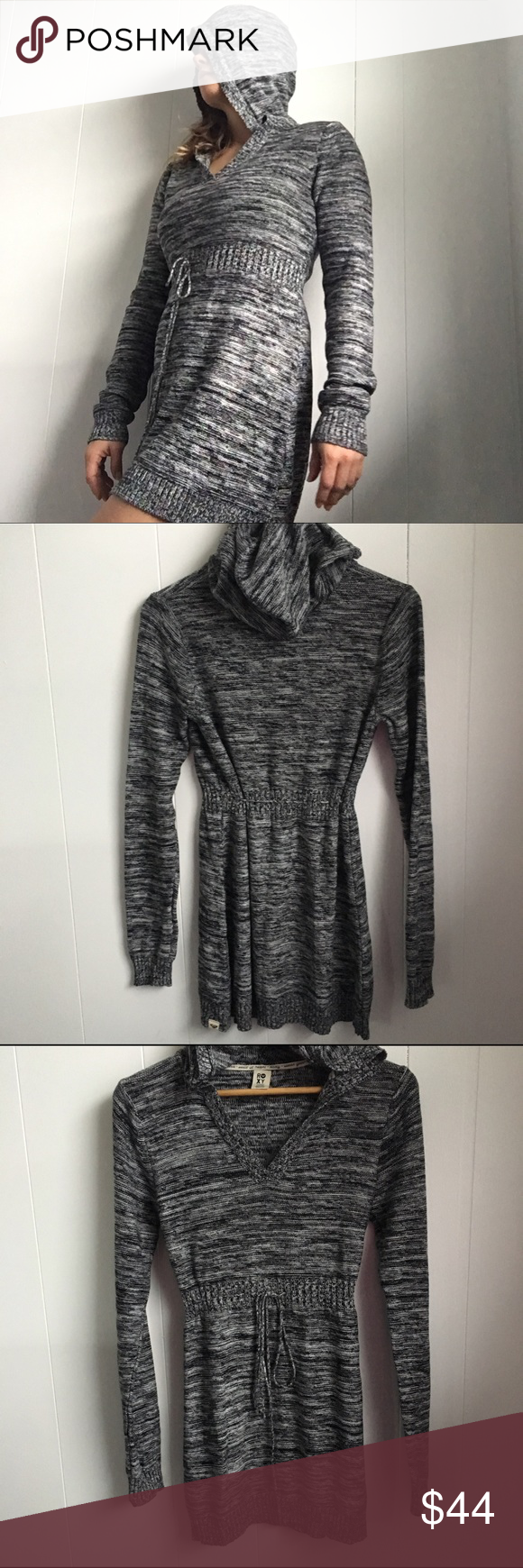 Roxy knit hooded sweater dress black white large | Hooded sweater ...
