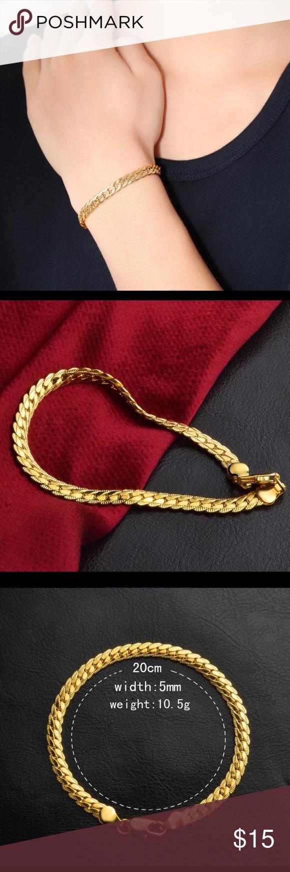 K gold plated unisex cuban bracelet nwt my posh closet