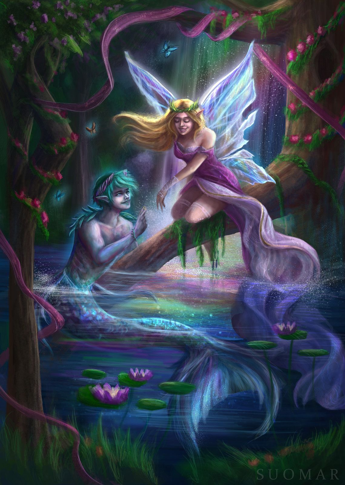 The Sweetest Dreams Come True Suo Mar On Artstation At Https Www Artstation Com Artwork Onvoj Fantasy Mermaids Mermaid Art Mermaid Painting