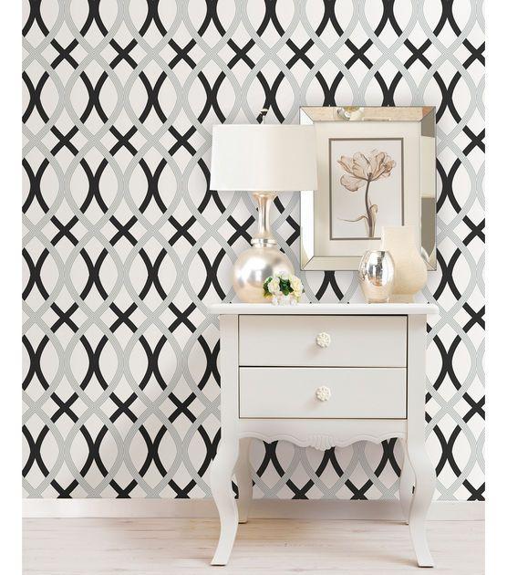 Wallpops Nuwallpaper Black And Silver Lattice Peel And Stick Wallpaper Jo Ann Peel And Stick Wallpaper Nuwallpaper Silver Lattice Wallpaper