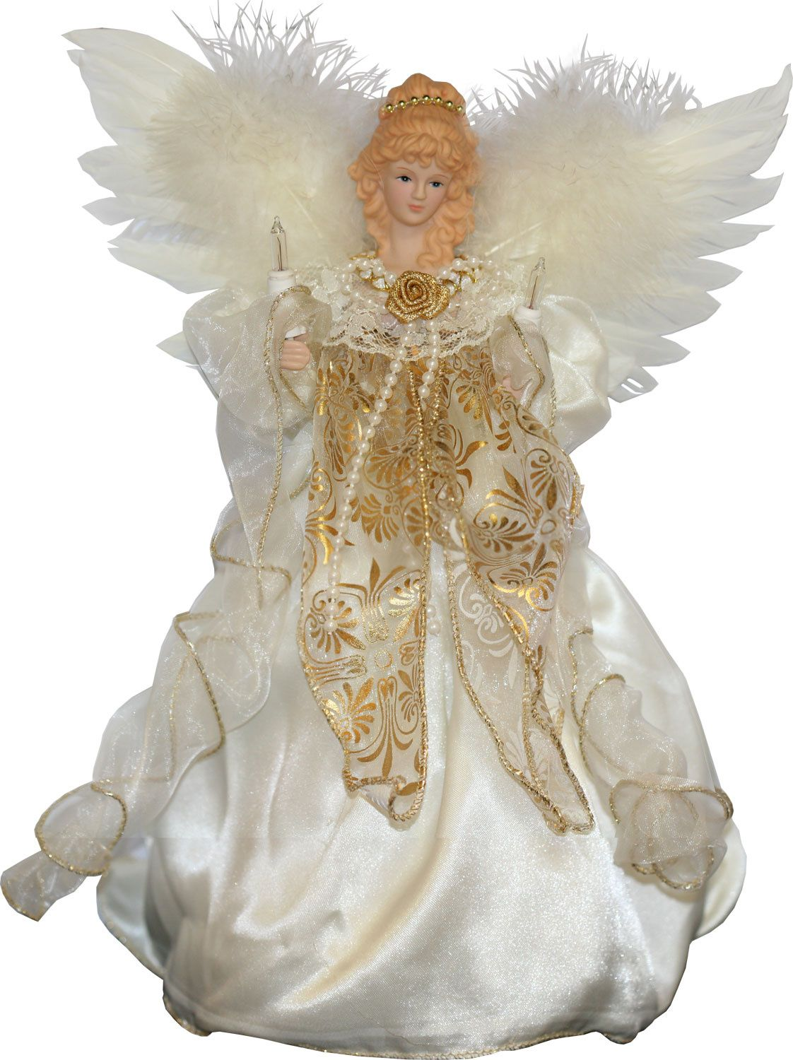 Animated fiber optic angel tree topper wears an ivory lace