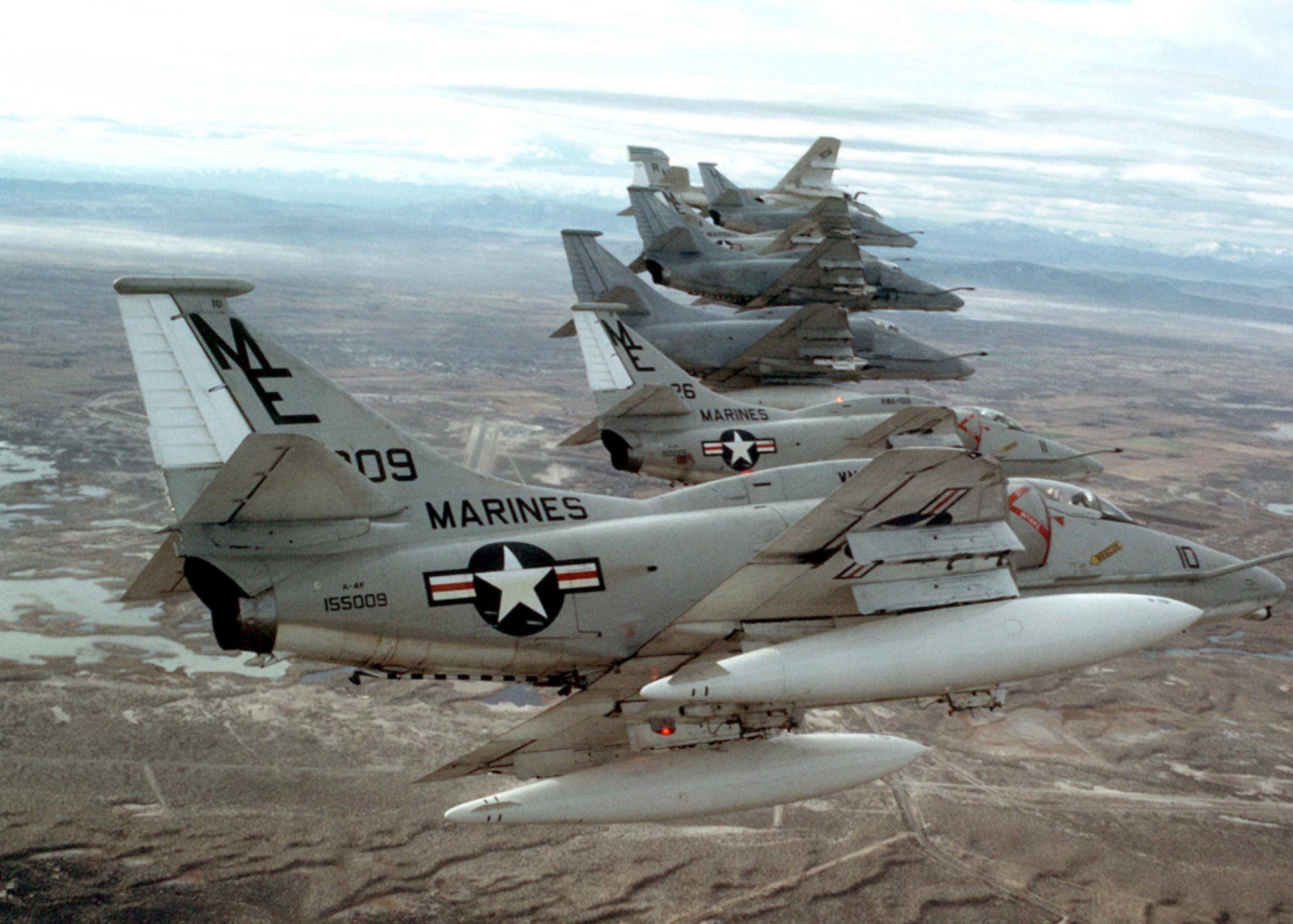 Six U.S. Marine Corps Reserve Douglas A4F Skyhawk
