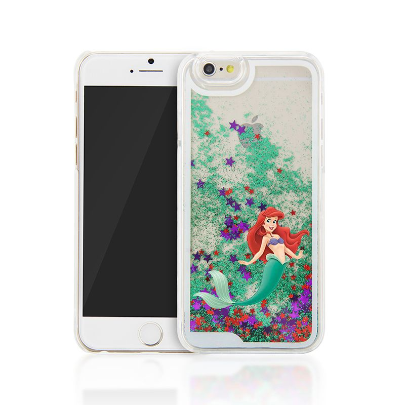 New 2015 The Little Mermaid Glitter Star Liquid Protection Hard Cover Case for iphone 4/4s/5/5s/5c/6/6plus/6s/6s plus