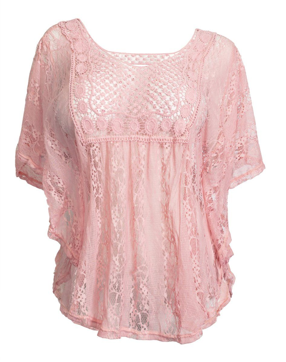 8828110c48d eVogues Sheer Crochet Lace Poncho Top at Amazon Women s Clothing store  Fashion  T Shirts