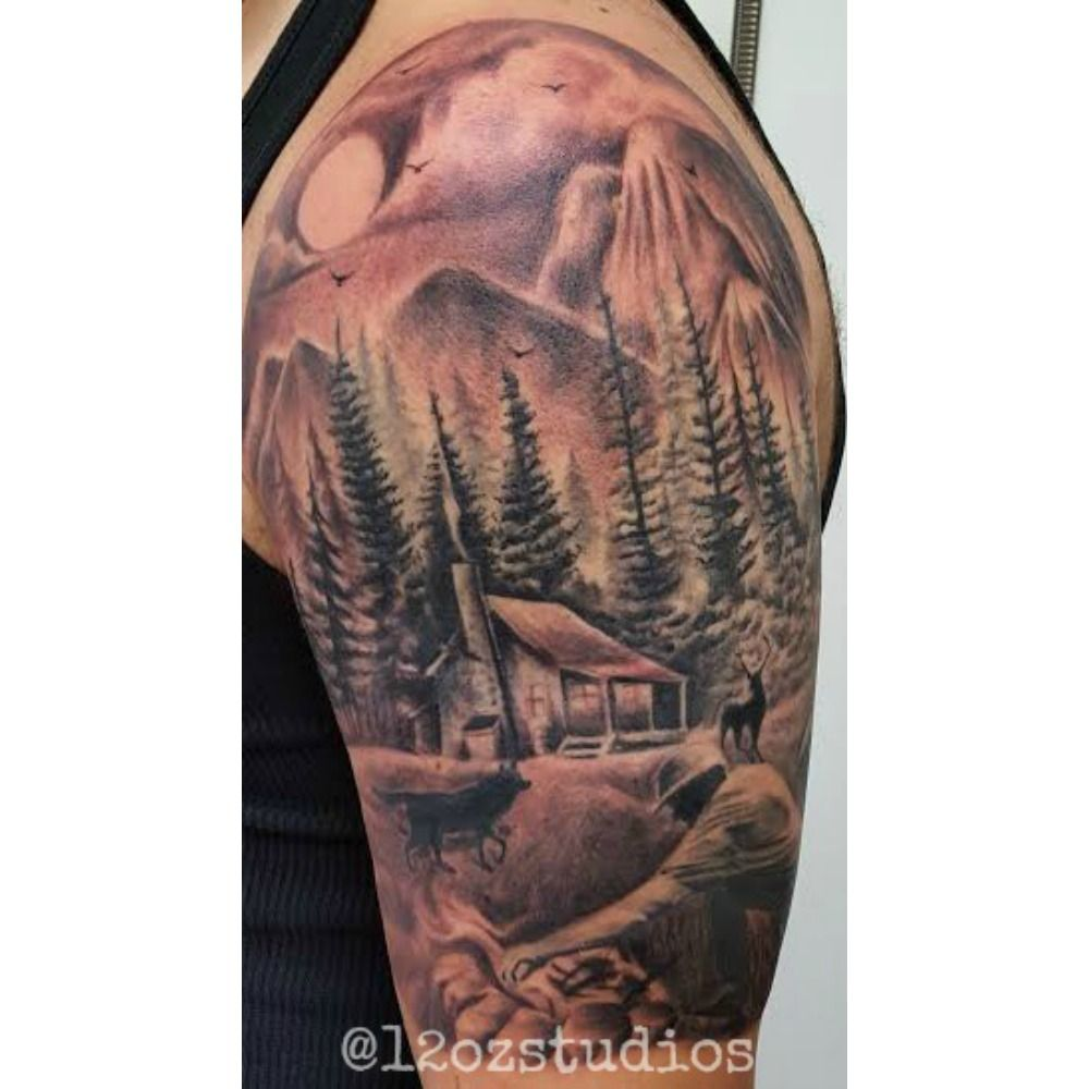 d026f51137ba8 Finished shot of this beautiful nature outdoor scene cabin camp fire trees  mountains male half sleeve tattoo by Kevin Soto.
