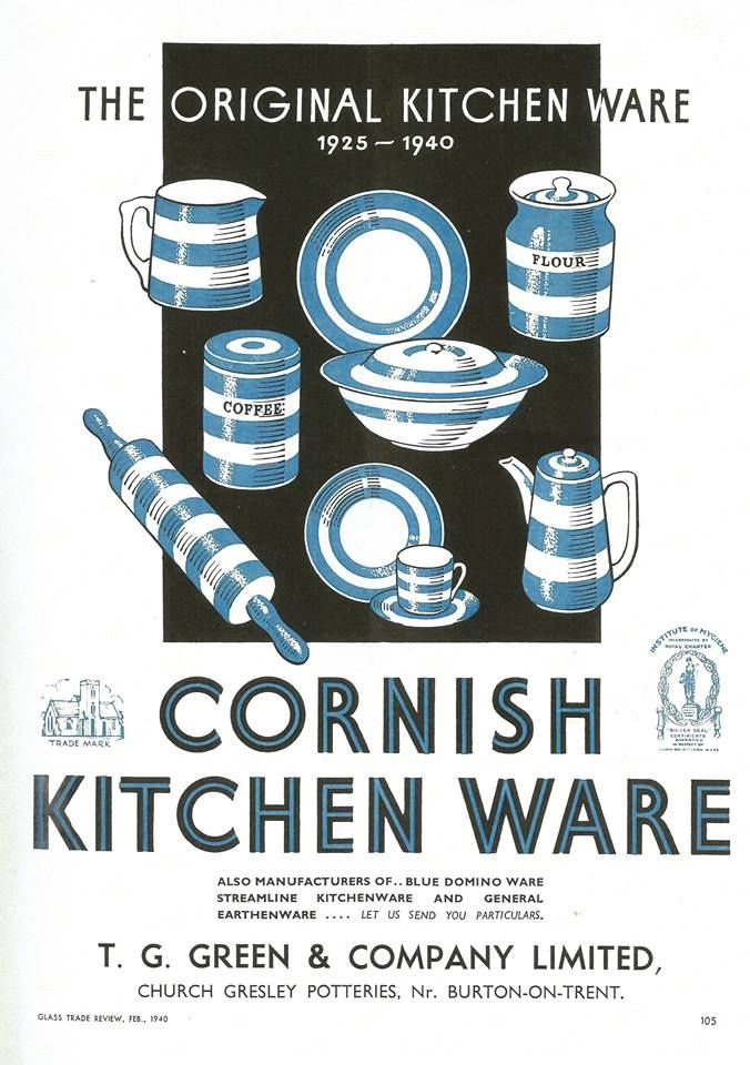 T.G. Green trade advertisement from February 1940 for the 15th anniversary of Cornish Ware production. #kitchenware