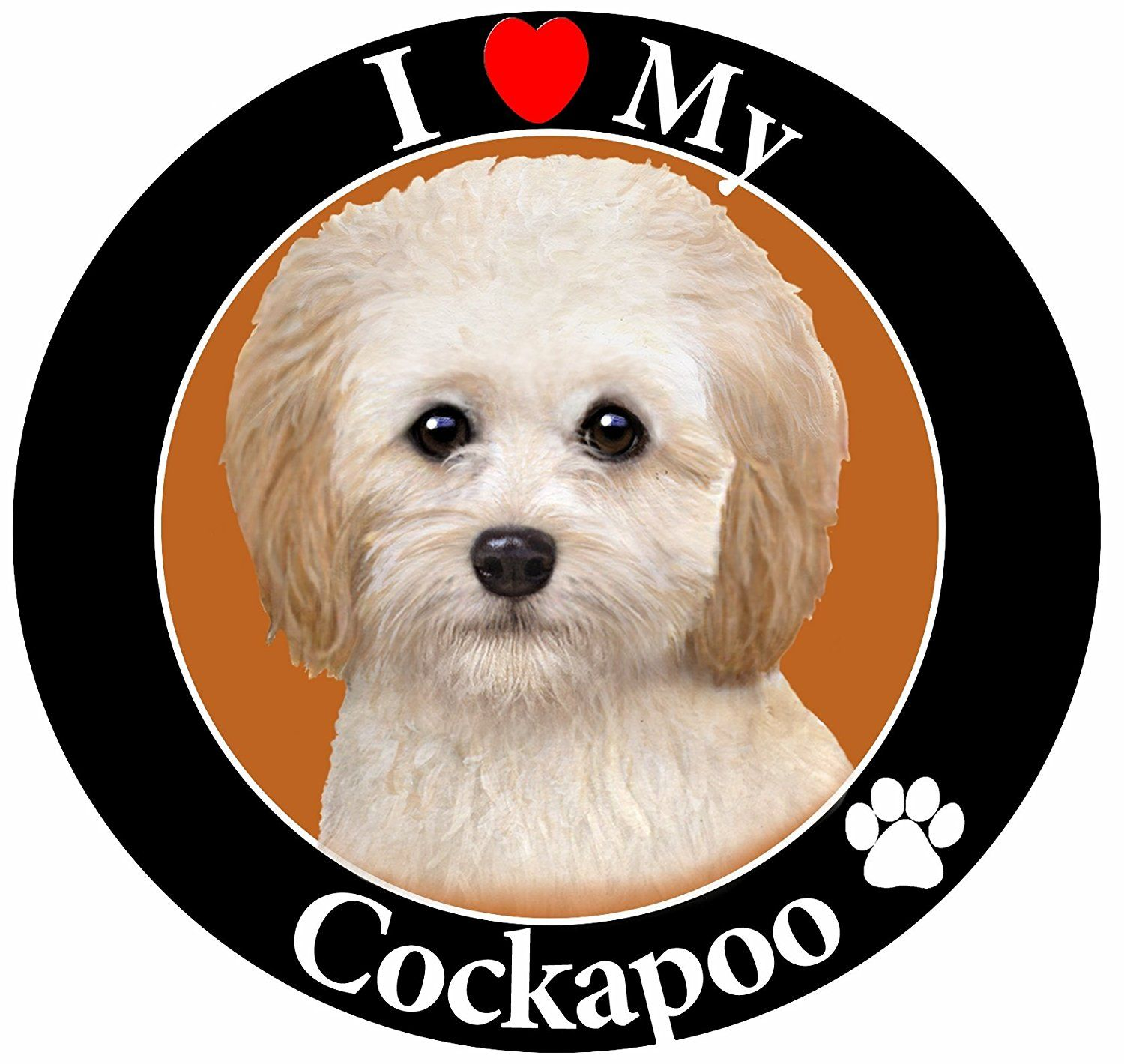 I Love My Cockapoo Car Magnet With Realistic Looking Cockapoo Photograph In The Center Covered In High Quality Uv Gloss Fo Cockapoo Cat Memorial Dog Memorial [ 1420 x 1500 Pixel ]