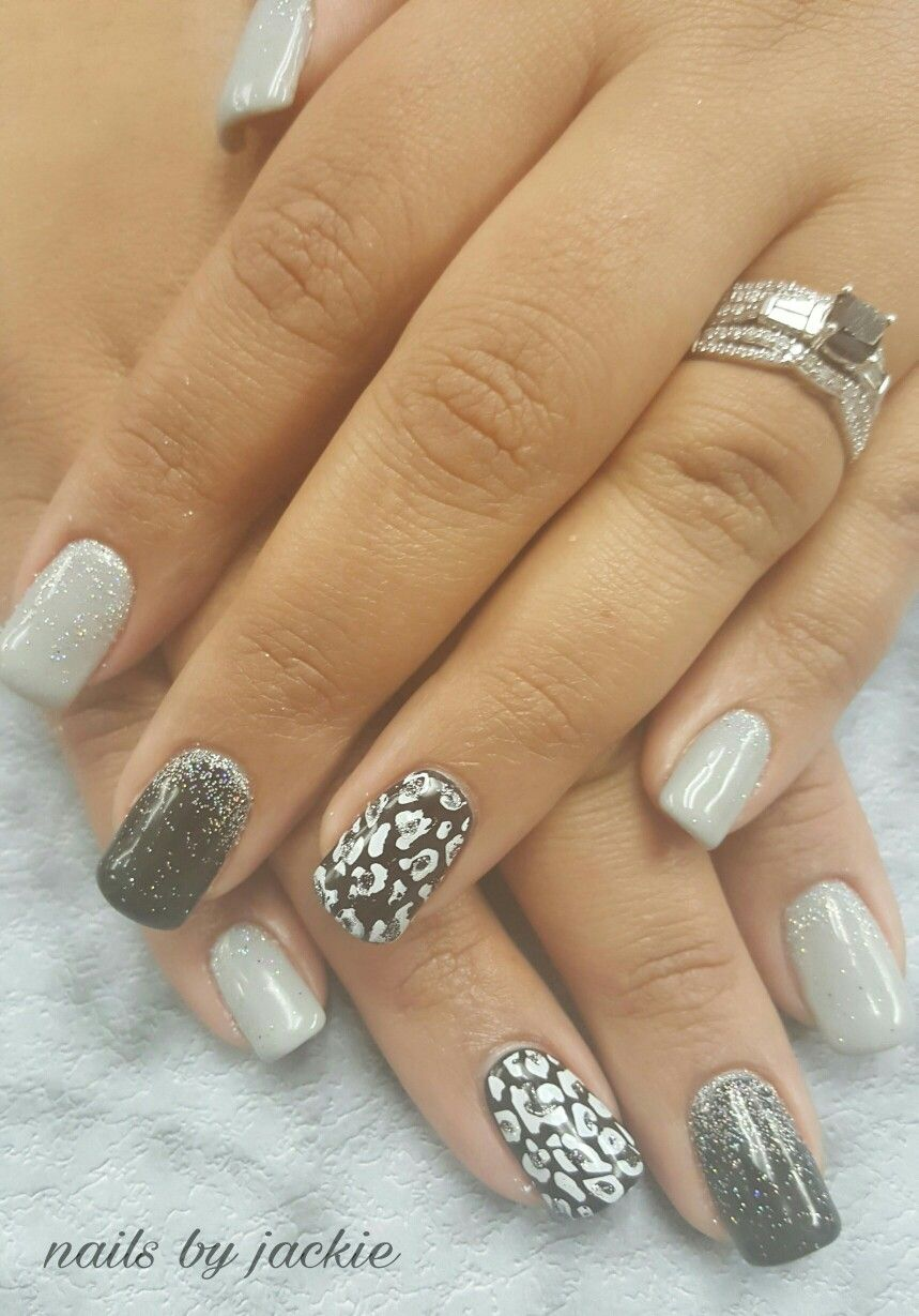 Young Nails Gel Set Black Grey Silver Nails With Leopard Print Nail