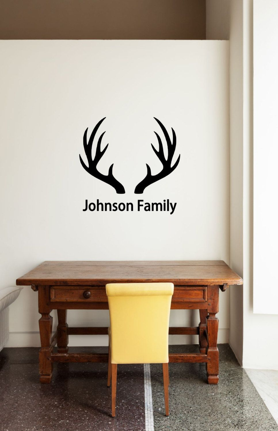 Custom Name Antlers Vinyl Decal Family Vinyl Wall Deer Decal - Custom vinyl wall decals deer