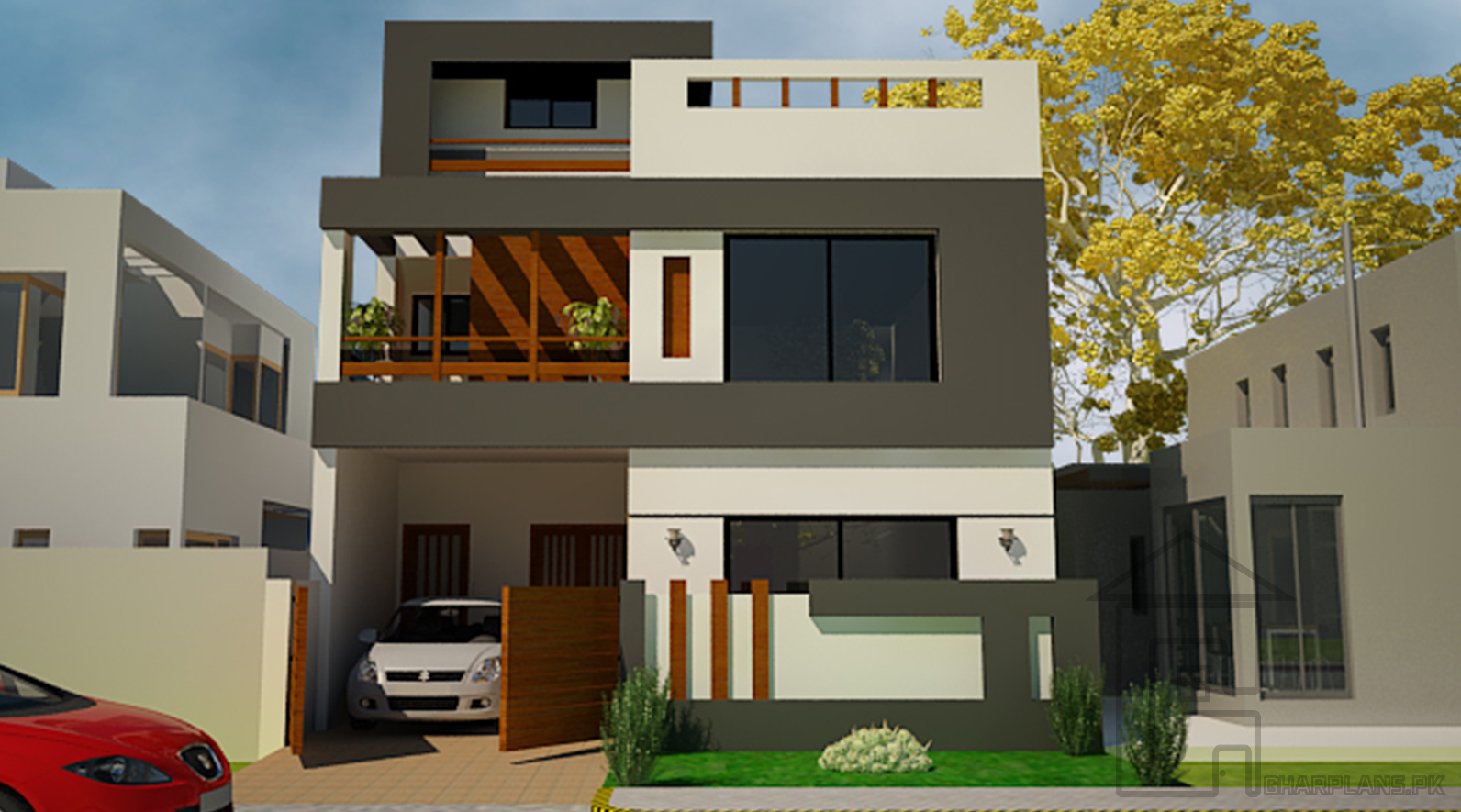 This is a standard 5 Marla house front design with the complete layout plan as it has 3 bedrooms ...