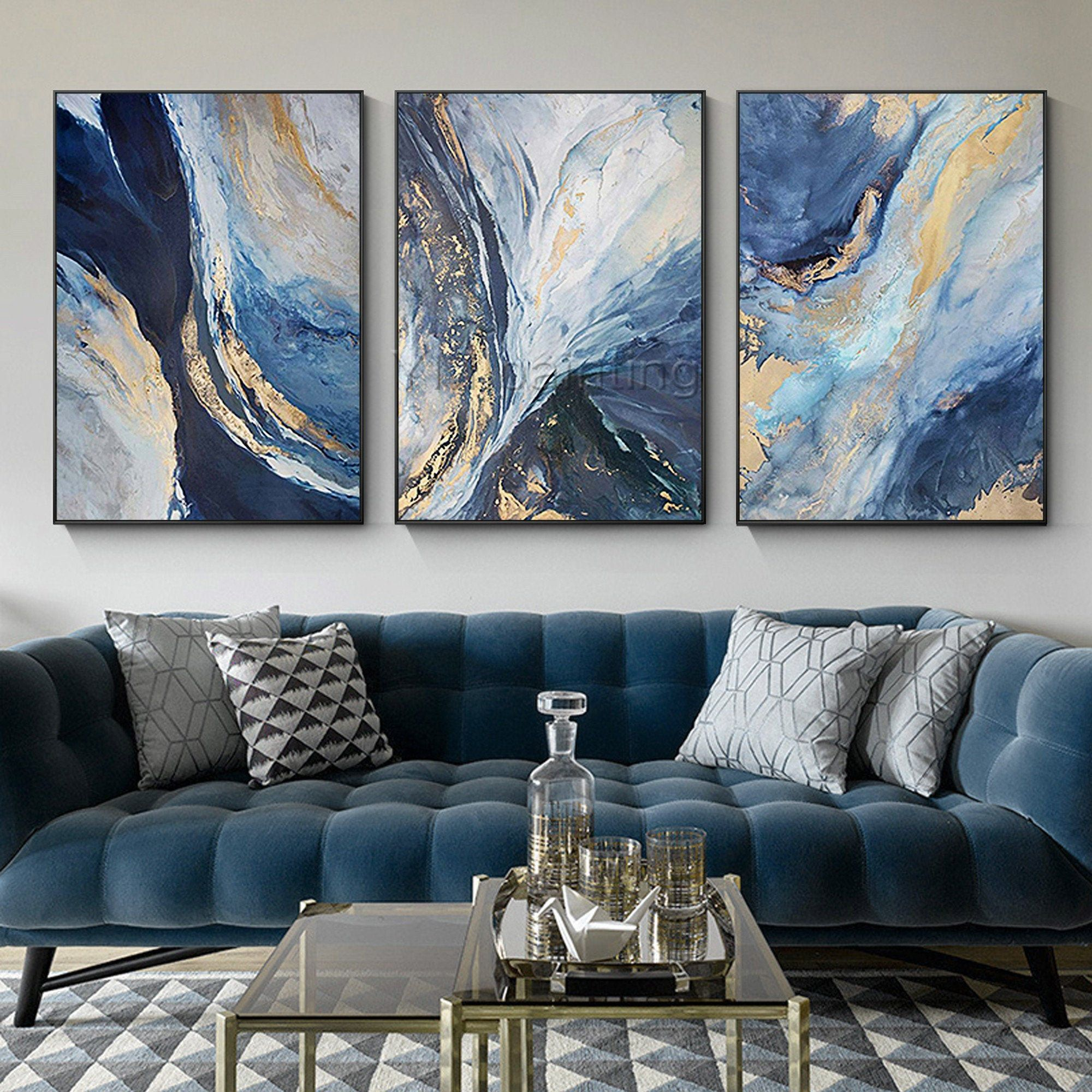 Framed Wall Art 3 Pieces Wall Art Gold Painting Ocean Navy Blue Art Abstract Acrylic Paint In 2021 Abstract Wall Art Living Room Blue Living Room Decor Living Room Art