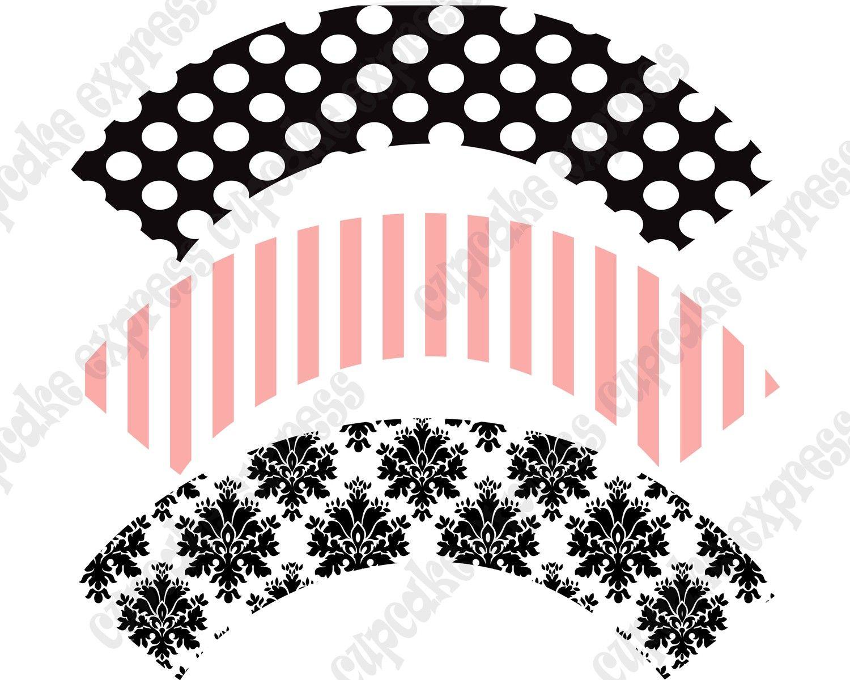 Pink black Paris Cupcake wrappers Birthday Party PRINTABLE Cupcake ...