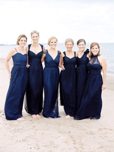 Gallery Inspiration Picture 1993955 Style Me Pretty Midnight Blue Bridesmaid Dresses Blue Bridesmaids Mismatched Navy Bridesmaid Dresses