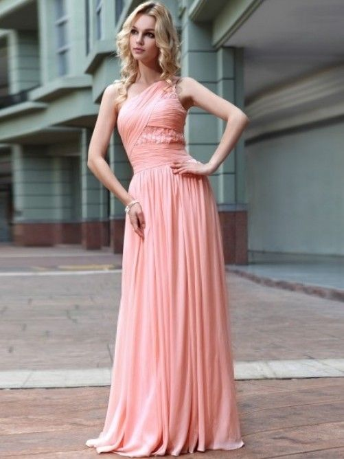 A-line/Princess One-Shoulder Rhinestone Floor-length Chiffon Prom ...