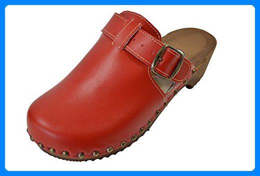 Buxa Damen Holz und Rot Leder Clogs mit Polsterung, Größe 36