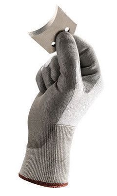 Ansell Size 7 HyFlex 13 Gauge Light Duty Cut Resistant Gray Polyurethane Palm Coated Work Gloves With White High Performance Polyethylene Liner And Knit Wrist