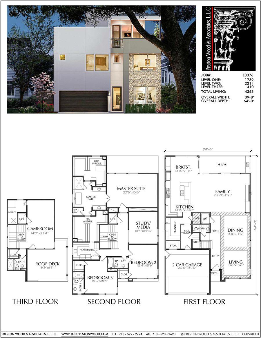 2 1 2 Story Urban House Plan E3376 Model House Plan Modern House Plans House Plans Online