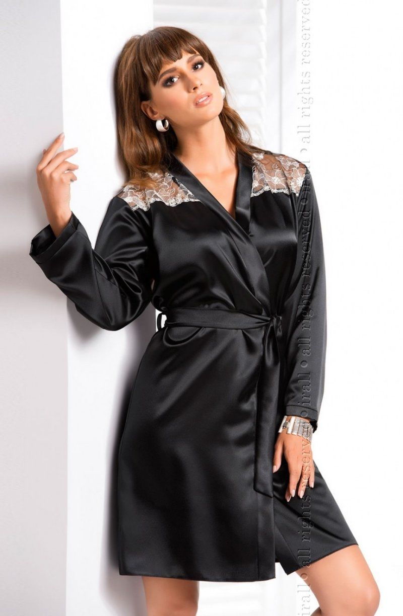 Irall Ida Black Robe - Unique dressing gown made of top quality ...