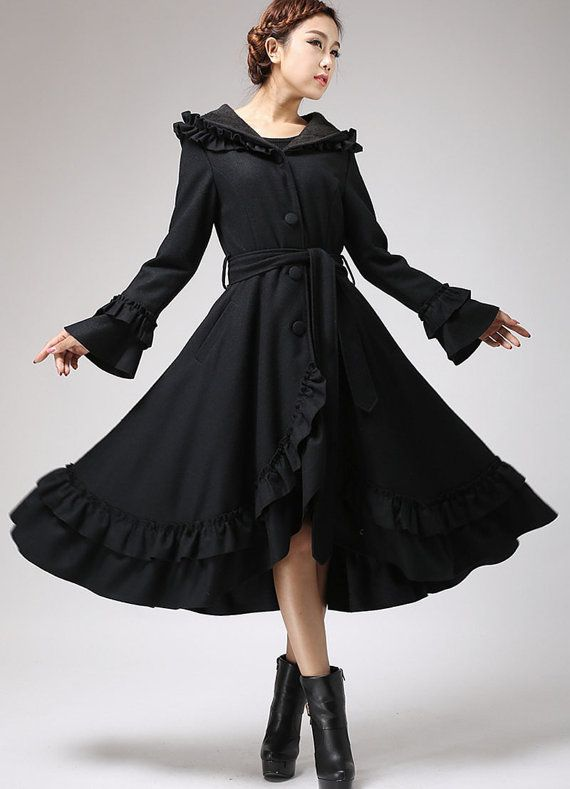 Black wool coat ruffled maxi coat hooded coat long by xiaolizi ...