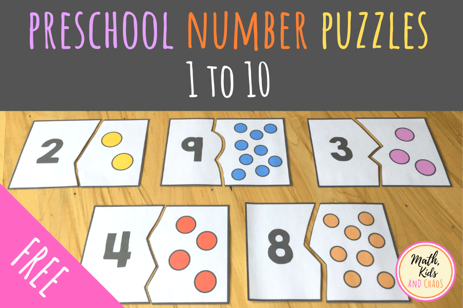 Preschool Number Puzzles For Numbers 1 To 10 Freebie Math Kids And Chaos In 2020 Numbers Preschool Preschool Number Puzzles Number Puzzles