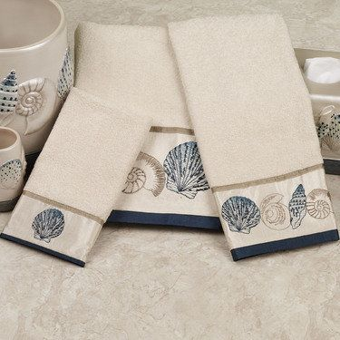 Hampton Shells Embroidered Seashell Cotton Bath Towel Set Towel Set  Includes A Bath Towel, 27 Nice Design