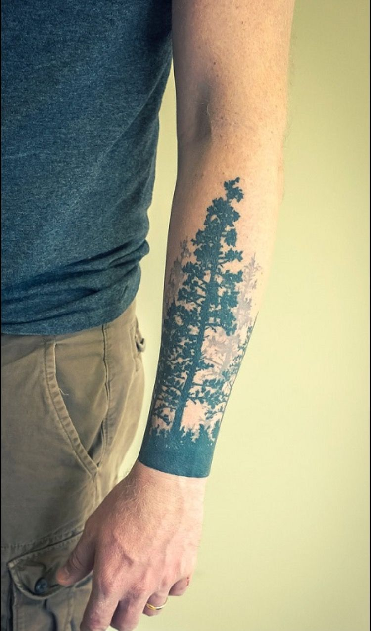 California/Oregon tree tattoos by Jeff Martens Wrist