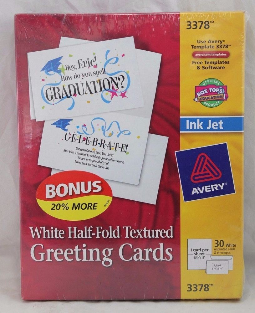 Details About Avery 3378 Greeting Cards Textured Inkjet White 30