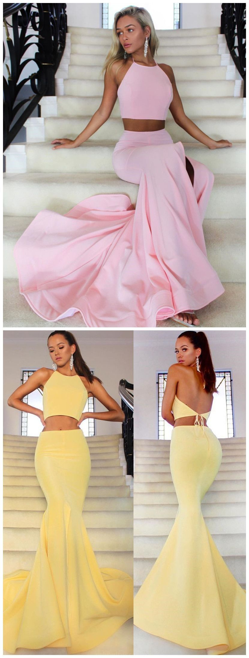 Customized popular sexy prom dresses two pieces prom dresses