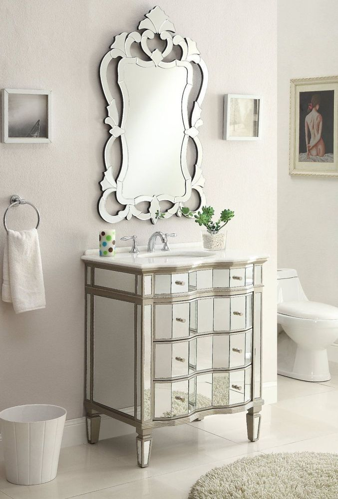 30\u201d All Mirrored Asselin Bathroom Sink Vanity w/ matching Mirror