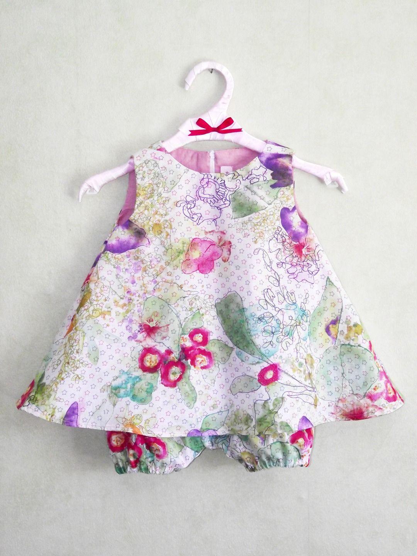 Ensemble robe trapèze et bloomer 6/9 mois : Mode Bébé par dady ...