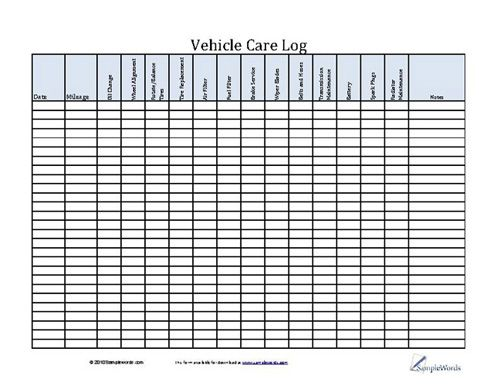 Vehicle Care Log - Printable PDF Form for Car Maintenance - Inventory Log Sheet
