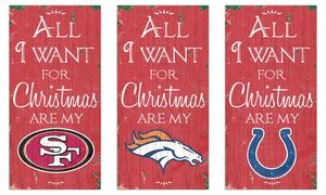 """Groupon - 12""""x6"""" NFL """"All I Want for Christmas"""" Team Sign in [missing {{location}} value]. Groupon deal price: $12.99"""