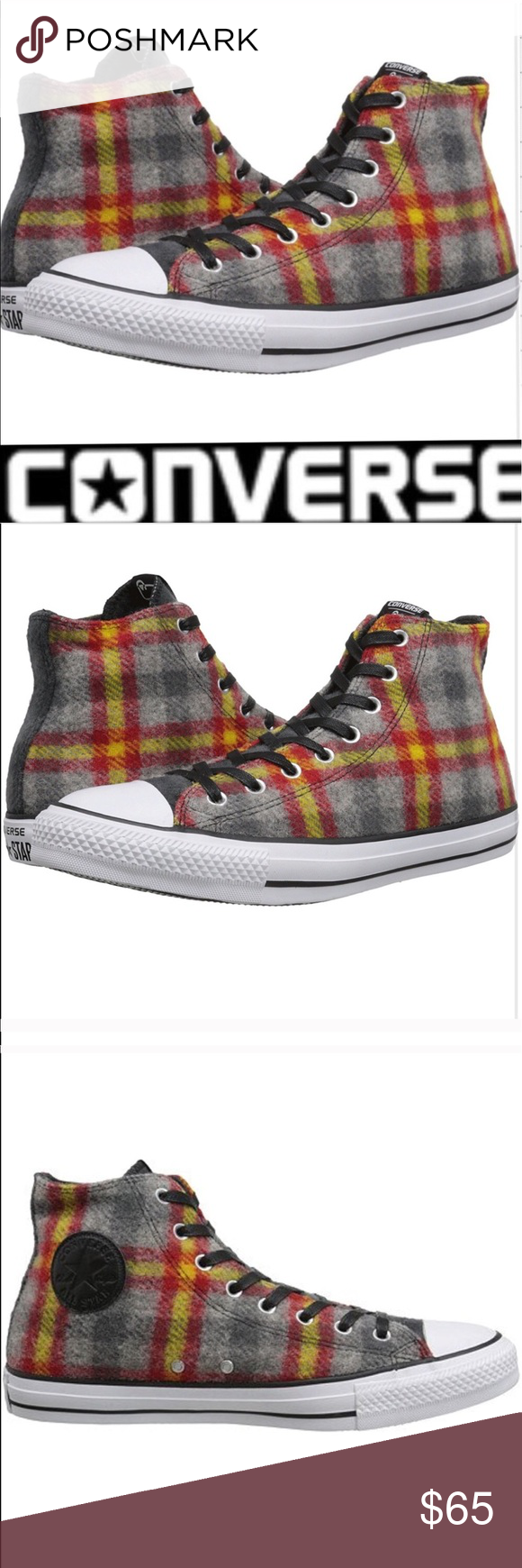 Converse woolrich wool hightops woolrich wool converse all star hi wool converse all star hi tops brand new without box or tag authentic woolrich wool plaid in gray red and yellow unisex womens size 7 mens size nvjuhfo Image collections