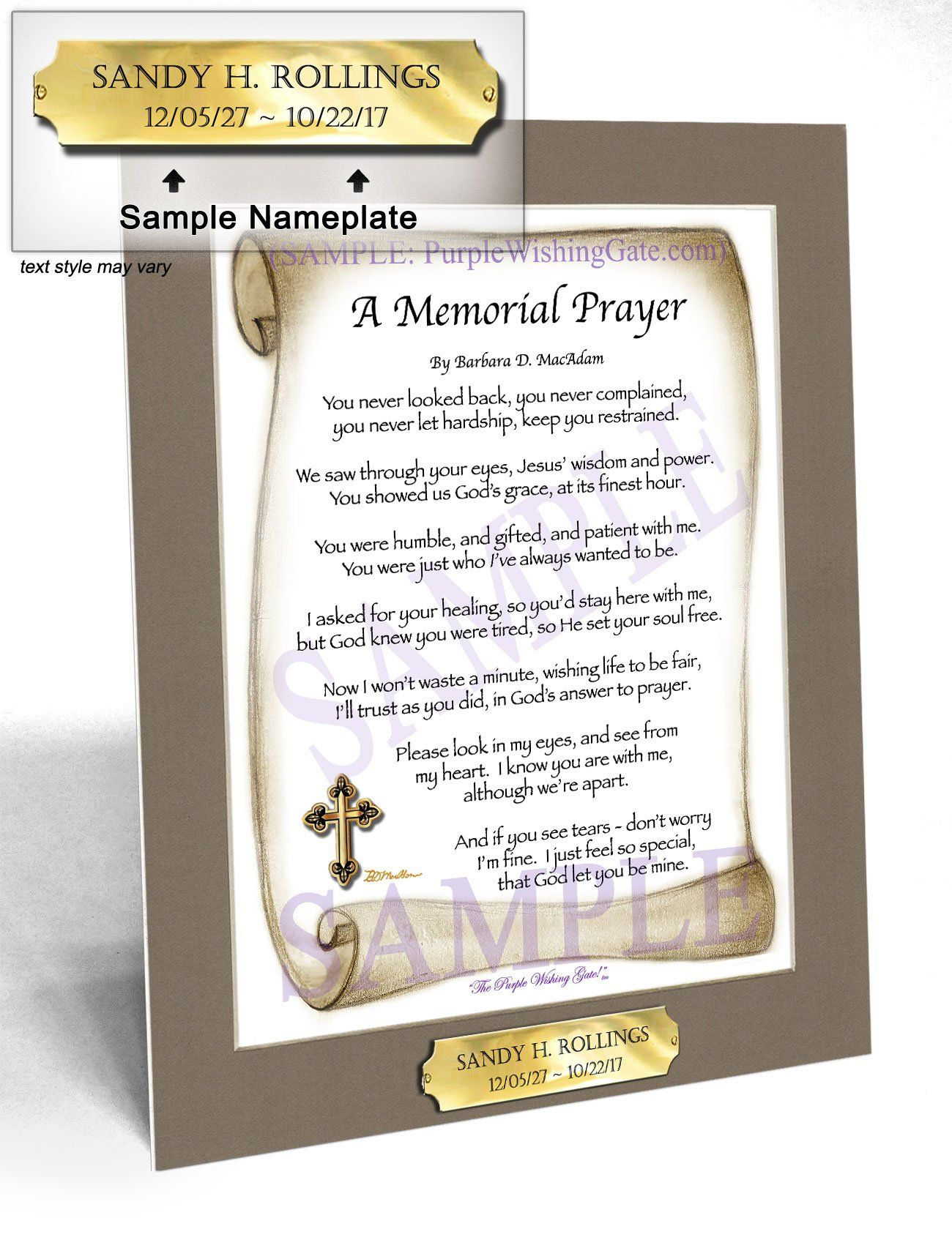A memorial prayer frame personalize gift purplewishinggate