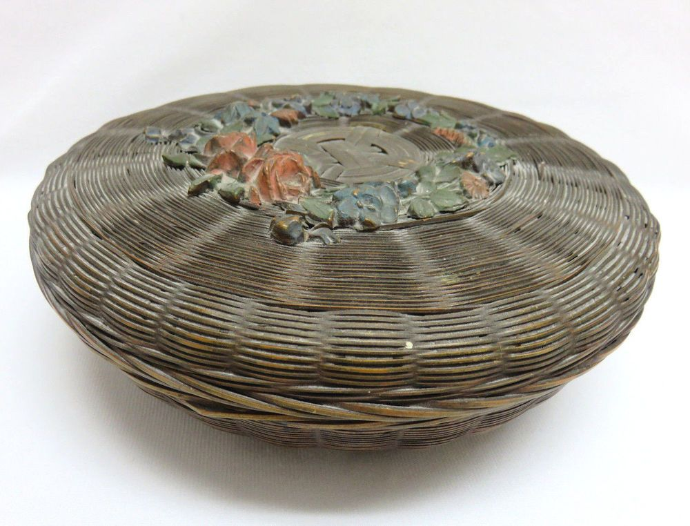 Vintage Round Weave Sewing Basket