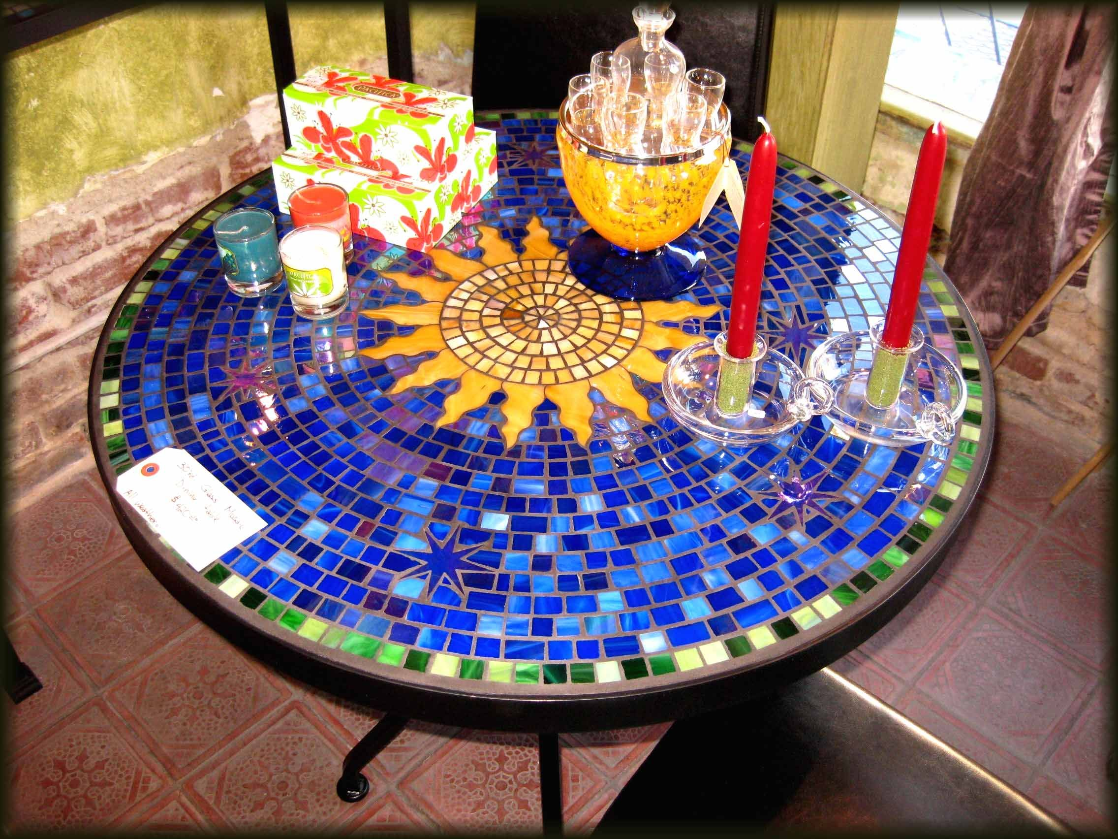 Glass Mosaic Table   Sun In Blue Field