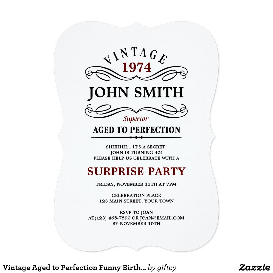 Vintage Aged to Perfection Funny Birthday Invite | Funny birthday ...